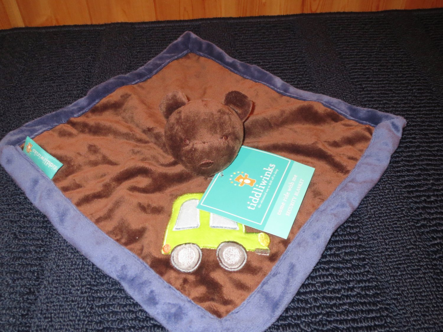New Tiddliwinks Brown Bear Security Blanket Lovey Green truck