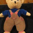 King Plush Cream Plush Bear wearing blue shirt corduroy pants hat