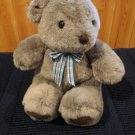 Commonwealth Gray Bear Brown accents plaid ribbon Plush Toy