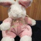 Kellytoy White Bunny Rabbit Pink Velour outfit Plush Toy