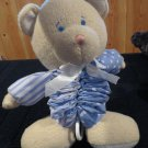 First Peek Plush Bear Musical Crib Toy Lovey Blue with white dots