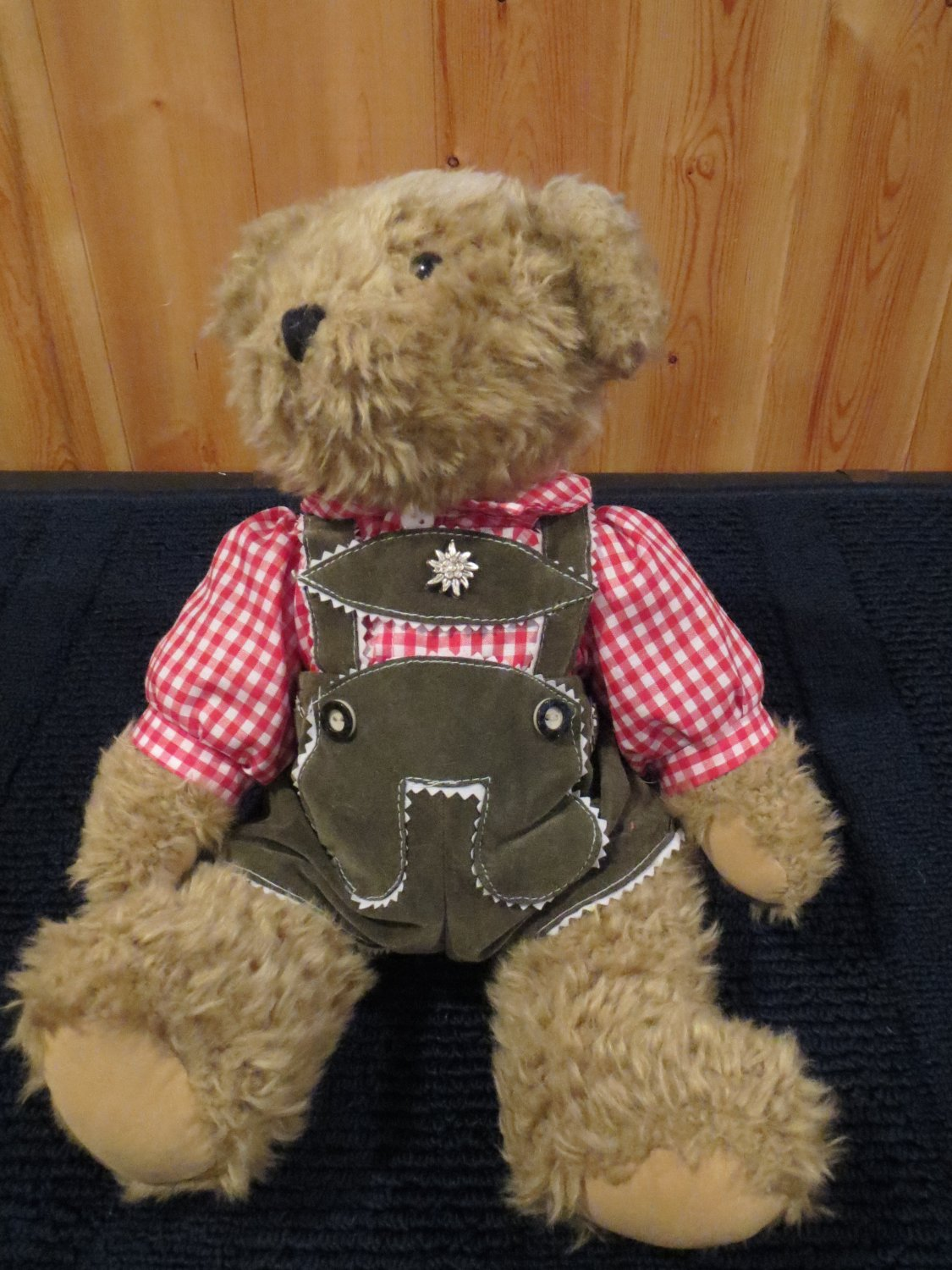 hard to find german g wurm kg plush teddy bear in lederhosen from koln germany. Black Bedroom Furniture Sets. Home Design Ideas