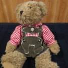 Hard to find German G. Wurm KG Plush Teddy Bear in Lederhosen from Koln Germany