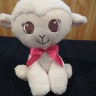 Plush white lamb brown eyes satin ribbon by National Entertainment Network
