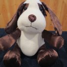 Plush Cozy Cuddles Dog White knit  Brown Satin ears legs trim