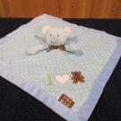 Blankets & Beyond White Bear Blue Security Blanket white dots