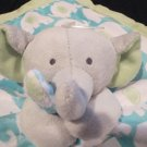 NWT Carters Grey Elephant Security Blanket Blue with white elephants green back