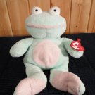 Ty Pluffies Plush Frog Named Grins Mint green and pink with heart tag.