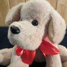Animal Adventure Plush Tan Dog Red Ribbon Bow 2013