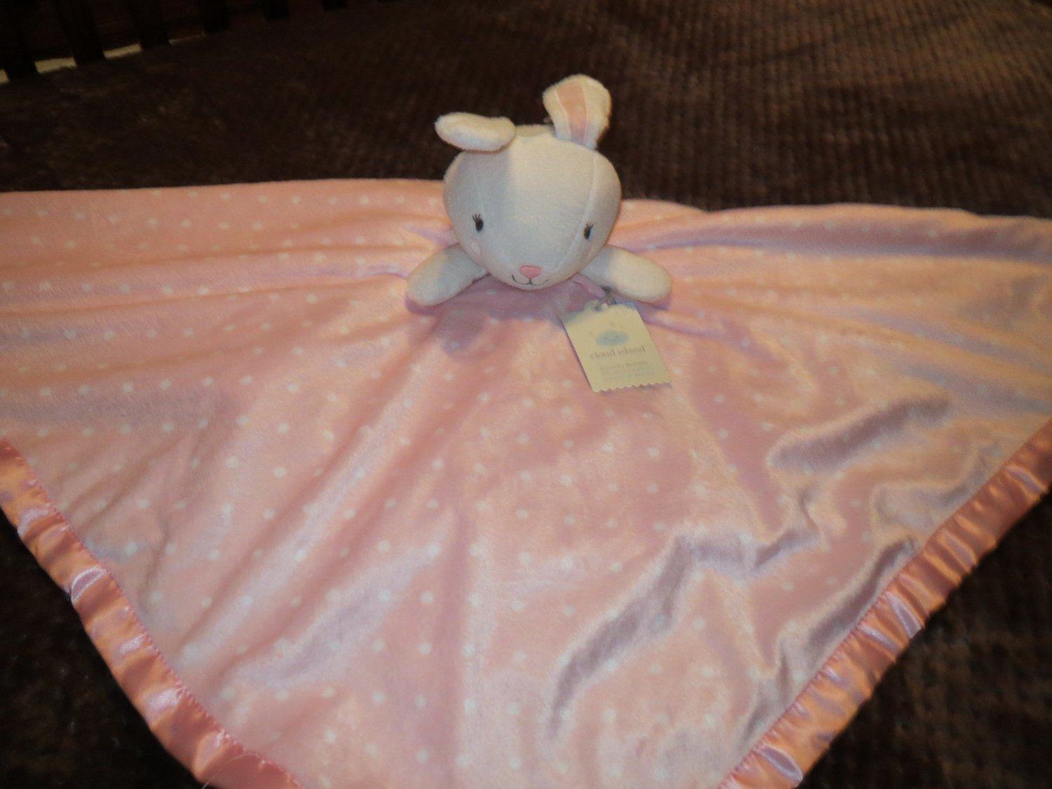 Nwt Cloud Island Pink Dotted Security Blanket White Rabbit