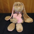 Babystyle Plush Tan Bunny Rabbit long arms, legs &ears Pink Stripes