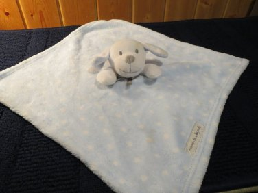 Blankets & Beyond Blue security blanket white dots Puppy dog gray nose