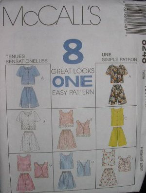 McCalls #8248 Uncut Sz 8-12 Shorts/Tops Sewing Pattern