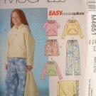 MCCALLS #4651 Uncut Sz M-Xlg Girls & Girls+ Fleece Wear Sewing Pattern