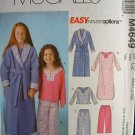 MCCALLS #4649 Uncut Sz 7-16  Girl's Sleepwear Sewing Pattern