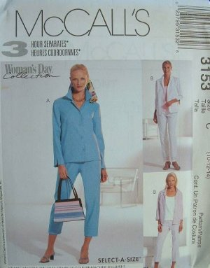 MCCALLS #3153 Uncut Sz 20-24 Shirt Jacket, Top & Pants Sewing Pattern