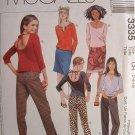 MCCALLS OOP#3335 Uncut Sz 12-16 Knit Top Pants & Skirt Sewing Pattern