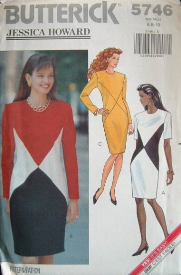 Butterick #5746 Uncut Sz 6-10 Fitted, Tapered Dress Sewing Pattern
