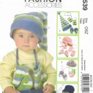 MCCALLS #5539 Uncut Infants' & Toddlers Hats, Mittens & Booties Sewing Pattern