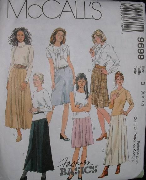MCCALLS #9699 Uncut Sz 8-12 A-line Skirt w/pleat Sewing Pattern