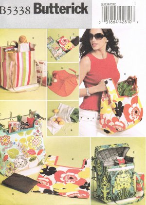 BUTTERICK #5338 Uncut 6 Styles of Bags for Shopping, Beach, Crafts & more Sewing Pattern