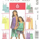 MCCALLS #5573 Uncut Sz 3-6 Girls' Tops w/Ruffle or Flounce, Shorts & Capri Pants Sewing Pattern
