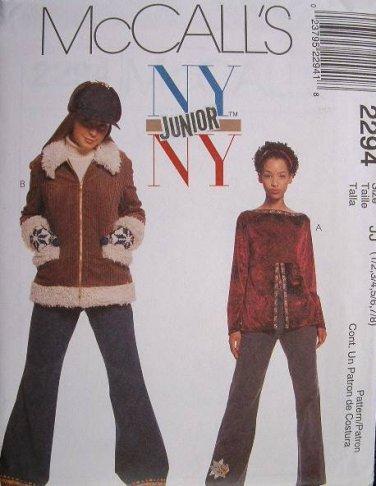 MCCALLS #2294 Uncut Jr Sz 9-13 Winter Jacket, Long Sleeve Top & Flared Pants Sewing Pattern