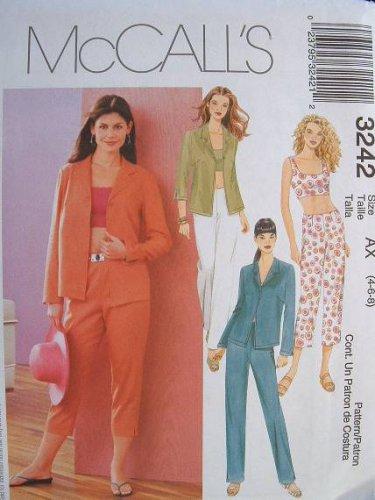 MCCALLS #3242 Uncut Sz 8-12 Front Button Shirt, Midriff Top, Pants & Capris Sewing Pattern