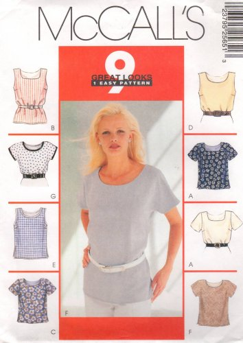 MCCALLS #2565 Uncut Sz 18-22 Misses Pullover Tops Sewing Pattern