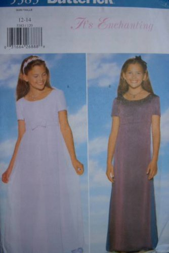 BUTTERICK #5383 Child Sz 12-14 Evening Length, Raised Waist A-Line Dress Sewing Pattern