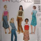 MCCALLS #3297 Uncut Sz 7-10 Girls Skirt, Pants, Tee & Top w/shoulder Straps Sewing Pattern