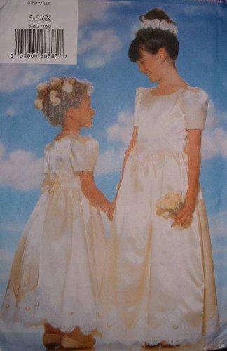 BUTTERICK #5382 Uncut Sz 5-6x Fitted Dress w/Shaped Front & Petticoat Sewing Pattern