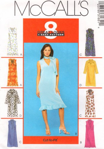 MCCALLS #3165 Uncut Sz 4-8 Sleeveless or Long Sleeve V-neck Pull-on Dresses Sewing Pattern