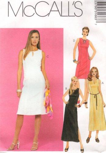 MCCALLS #3166 Uncut Sz 6-10 Sleeveless Summer Dress w/Neckline variations Sewing Pattern