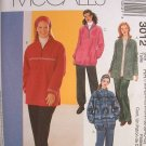 MCCALLS #3012 Uncut Womens Sz 26W-32W Polar Jacket, Top & Pull-on Pants Sewing Pattern