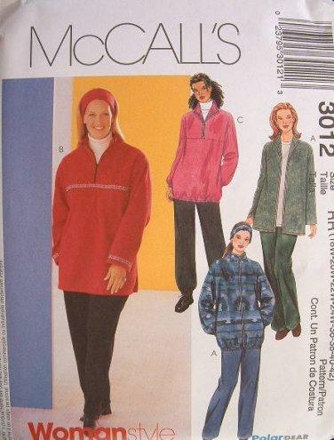 MCCALLS #3012 Uncut Womens Sz 26W-32W Polar Jacket, Top & Pull-on Pants Sewing Pattern