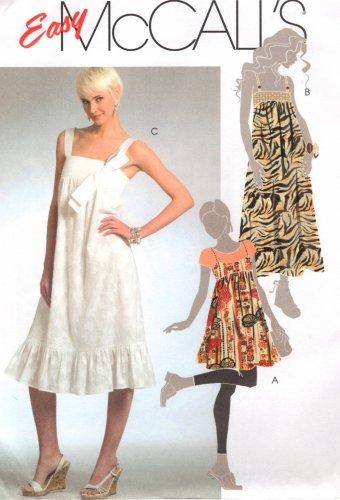 MCCALLS #5377 Uncut Sz 6-14 Gathered Empire Dress / Jumper w/Shoulder Straps Sewing Pattern