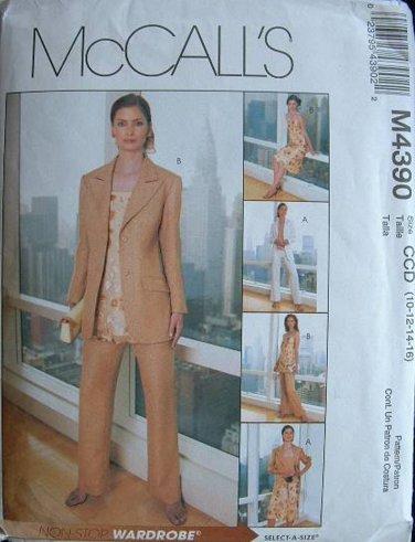 MCCALLS #4390 Uncut Sz 10-16 Jacket, Bias Top or Tunic, Pants & Bias Skirt Sewing Pattern