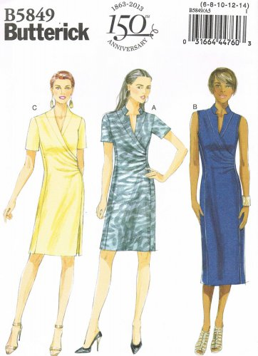 BUTTERICK #5849 Uncut Sz 6-14 Semi-fit Dress; Back Collar, Front Bands Sewing Pattern