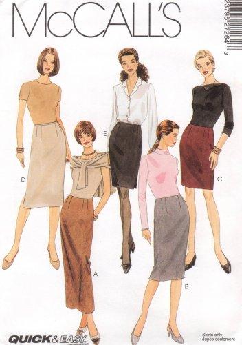 MCCALLS #2726 Uncut Sz 14-18 Slim Skirts in 3 Lengths; Back or Side Slits Sewing Pattern