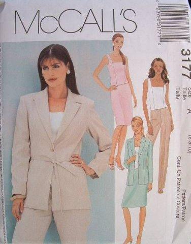 MCCALLS #3177 Uncut Sz 8-12 Lined Jacket, Top, Pants & Skirt Sewing Pattern