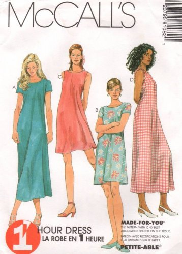 MCCALLS #8108 Uncut Sz 8-12 Pullover Summer Dresses in 2 Lengths