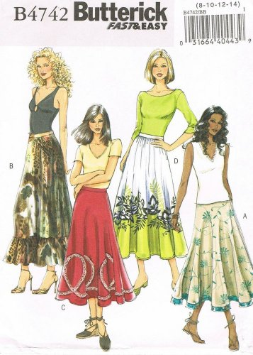 BUTTERICK #4742 Uncut Sz 8-14 Various Calf-length Flared Skirts