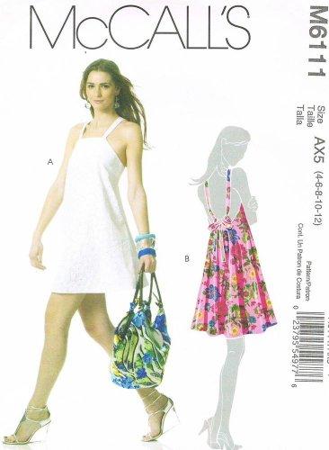 MCCALLS #6111 Uncut Sz 4-12 Flared Above Mid-Knee Bias Cut Dresses w/Straps