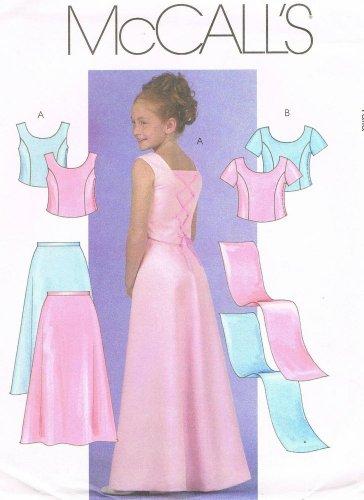 MCCALLS #4765 Uncut Girls Sz 10-14 Semi-fit Top, Evening Length Skirt & Stole