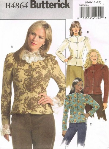BUTTERICK #4864 Uncut Sz 6-12 Long Sleeve Yoked Jacket w/Collar; Optional Peplum