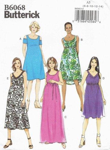 BUTTERICK #6068 Uncut Sz 6-14  Maternity Pullover Dress & Belt