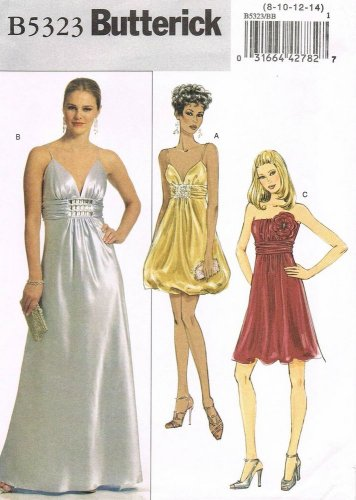 BUTTERICK #5323 Uncut Sz 8-14 Dress; Gathered Bodice, Draped Midriff, 2 Lengths