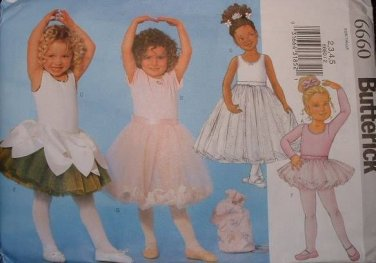 BUTTERICK #6660 Uncut Sz 2-8 Sleeveless, Long, Short Sleeve Leotards & Skirts