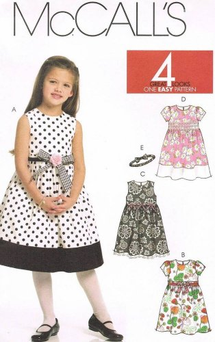 MCCALLS #5792 Uncut Sz 1-3 Semi-fit Bodice, Sleeveless Dresses & Headband